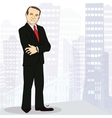 Experienced and confident businessman in big city vector
