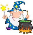 Wizard waving with magic wand and preparing a poti vector