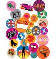 Badges 80s style pop retro vector