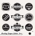Bowling league champs labels vector