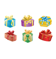 Set of color gift boxes with ribbons vector