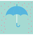 Blue umbrella with rain hearts love card flat desi vector