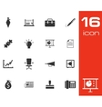 Black business icons set on white background vector