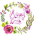Watercolor floral frame for wedding invitation vector