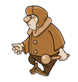 Cartoon angry man in a padded jacket and a fur hat vector