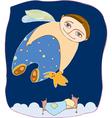 Boy fly sleep vector
