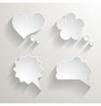 Set of white paper speech bubbles vector