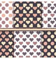 Set of seamless patterns made with hearts and dot vector