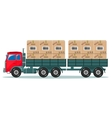 Truck with cargo boxes on trailer vector