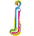 Colorful grunge font letter j vector