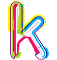 Colorful grunge font letter k vector