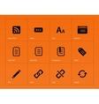 Blogger icons on orange background vector