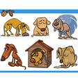 Sad stray dogs cartoon set vector