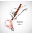 Hand drawing lightbulb vector