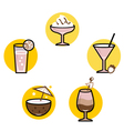 Summer retro cocktails set isolated on white vector