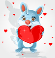 Cute little bunny holds a soft red heart-pillow vector