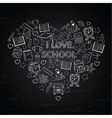 Chalk board i love school in the form of heart vector