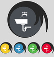 Washbasin icon sign symbol on five colored buttons vector