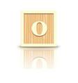 Number 0 wooden alphabet block vector