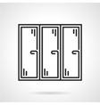 Triple window black line icon vector