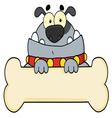 Gray bulldog and bone sign vector