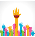 Colorful helping hand with heart vector