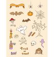 Halloween doodle elements vector