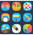 Set of art and paint mobile icons in flat design vector