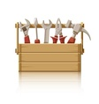 Wooden box with construction vector
