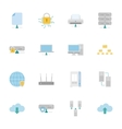 Computer systems and networks color flat icons set vector
