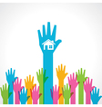 Colorful helping hand with home vector