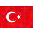 Turkey flag on unusual red triangles background vector