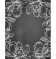 Floral frame on chalkboard vector