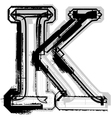 Grunge font letter k vector
