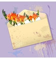 Violet card with grunge envelope and flowers vector