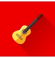 With guitar in flat style design with long shadow vector
