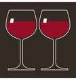 Two glasses of red wine vector