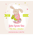 Baby bunny on a horse - baby shower card vector