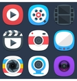 Set of camera photo and video mobile icons in flat vector