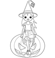 Little halloween witch coloring page vector
