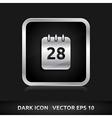 Calendar icon silver metal vector