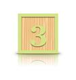 Number 3 wooden alphabet block vector