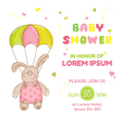 Baby bunny with parachute - baby shower card vector