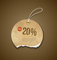 Vintage ripped brown label circle sale vector