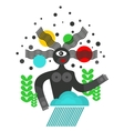 Abstract black woman with strange hair vector