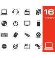 Black computer icons set on white background vector