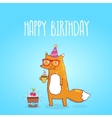 Happy birthday card with hipster fox vector
