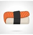 Salmon nigiri sushi flat icon vector