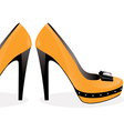 Pair of yellow shoes vector