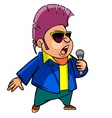 Cartoon character man with hair and dark glasses vector